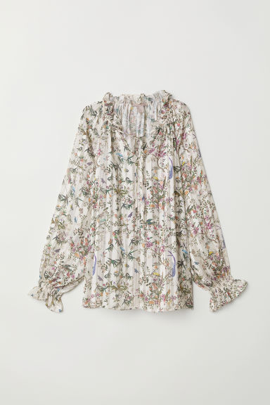 H&M+ Blouse with smocking - White/Floral - Ladies | H&M CN