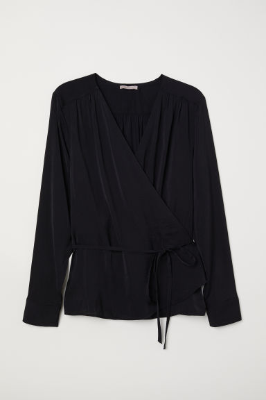H&M+ Wrapover blouse - Black - Ladies | H&M CN