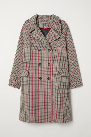 H&M+ Double-breasted coat - Beige/Checked -  | H&M GB
