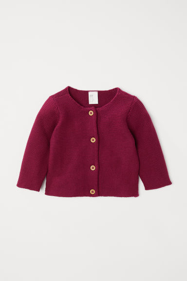 Knitted cotton cardigan - Dark pink - Kids | H&M CN