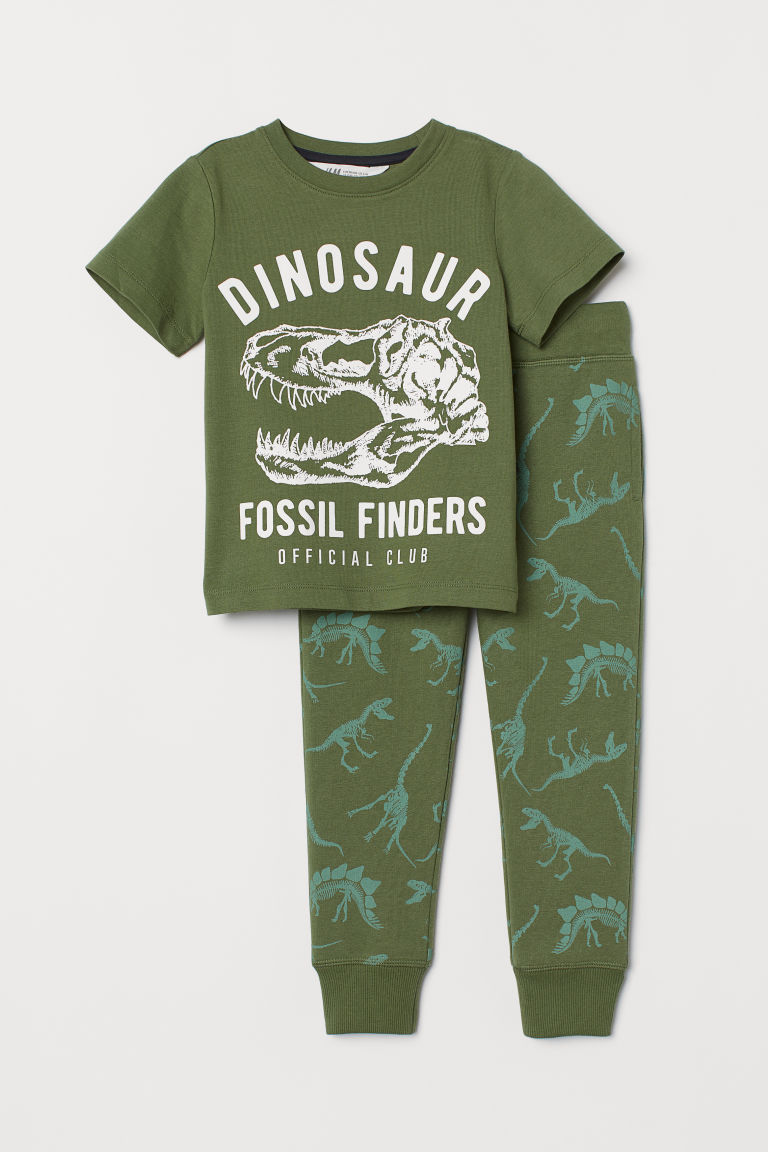 T-shirt and joggers - Dark green/Dinosaur - Kids | H&M GB
