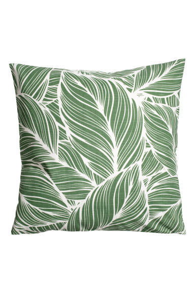 Slub-weave cushion cover - Green/White patterned - Home All | H&M GB