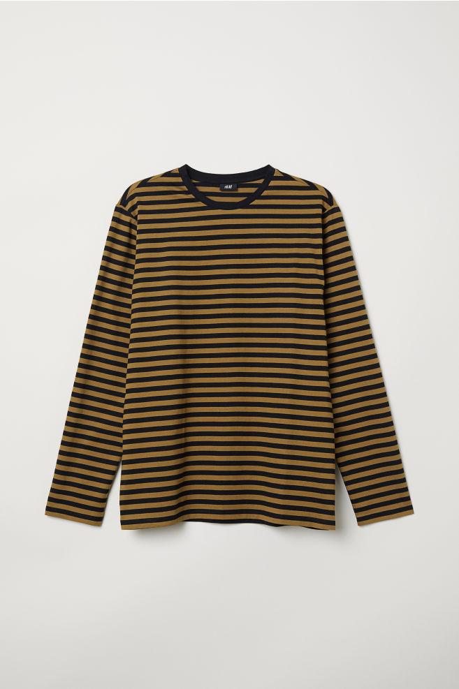 d4c85acaa685 Long-sleeved Cotton Shirt - Olive green/black - Men | H&M ...
