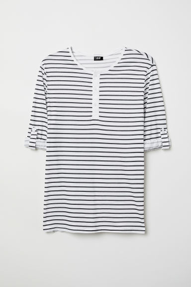 Cotton jersey Henley shirt - White/Black striped - Men | H&M CN