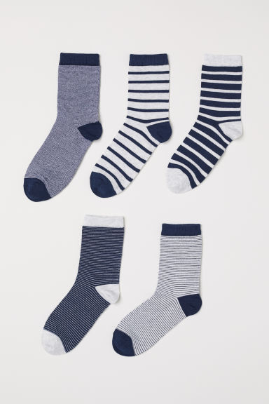 5-pack socks - Dark blue/Striped - Kids | H&M CN