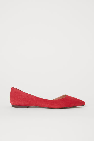 Suede ballet pumps - Red - Ladies | H&M CN