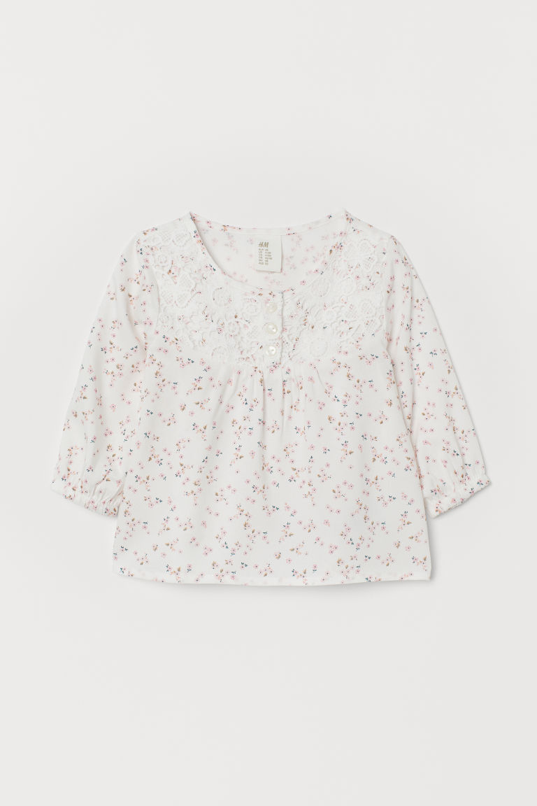 Patterned Blouse - White/pink floral - Kids | H&M US