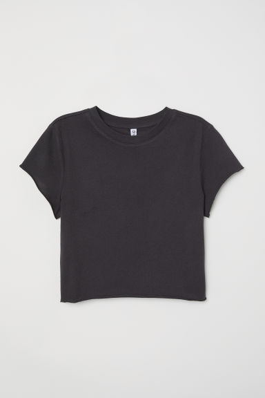 Cropped jersey top - Dark grey - Ladies | H&M