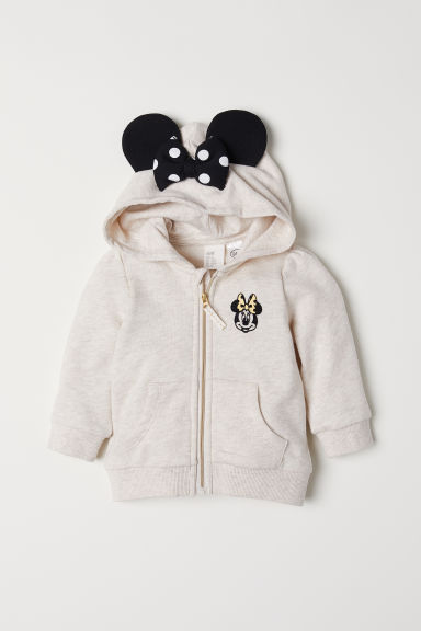 Hooded jacket with ears - Light beige marl/Minnie Mouse - Kids | H&M CN