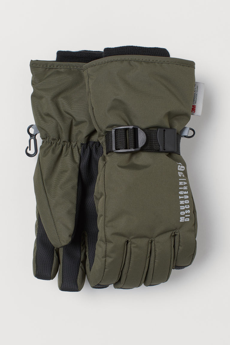 Water-repellent ski gloves - Khaki green - Kids | H&M IN
