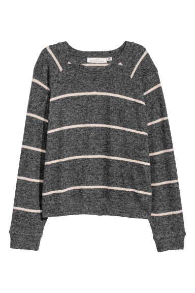 Fine-knit jumper - Dark grey/Striped - Ladies | H&M