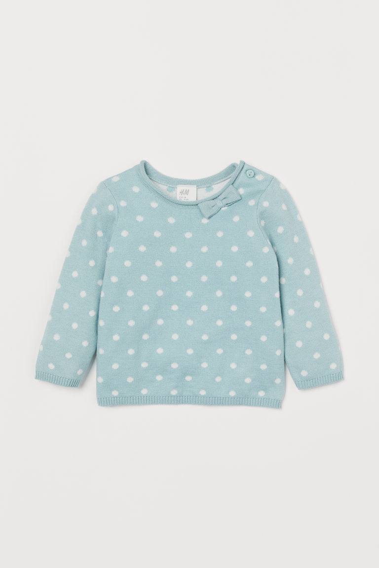 Fine-knit jumper with a bow - Light turquoise/White spotted - Kids | H&M IN