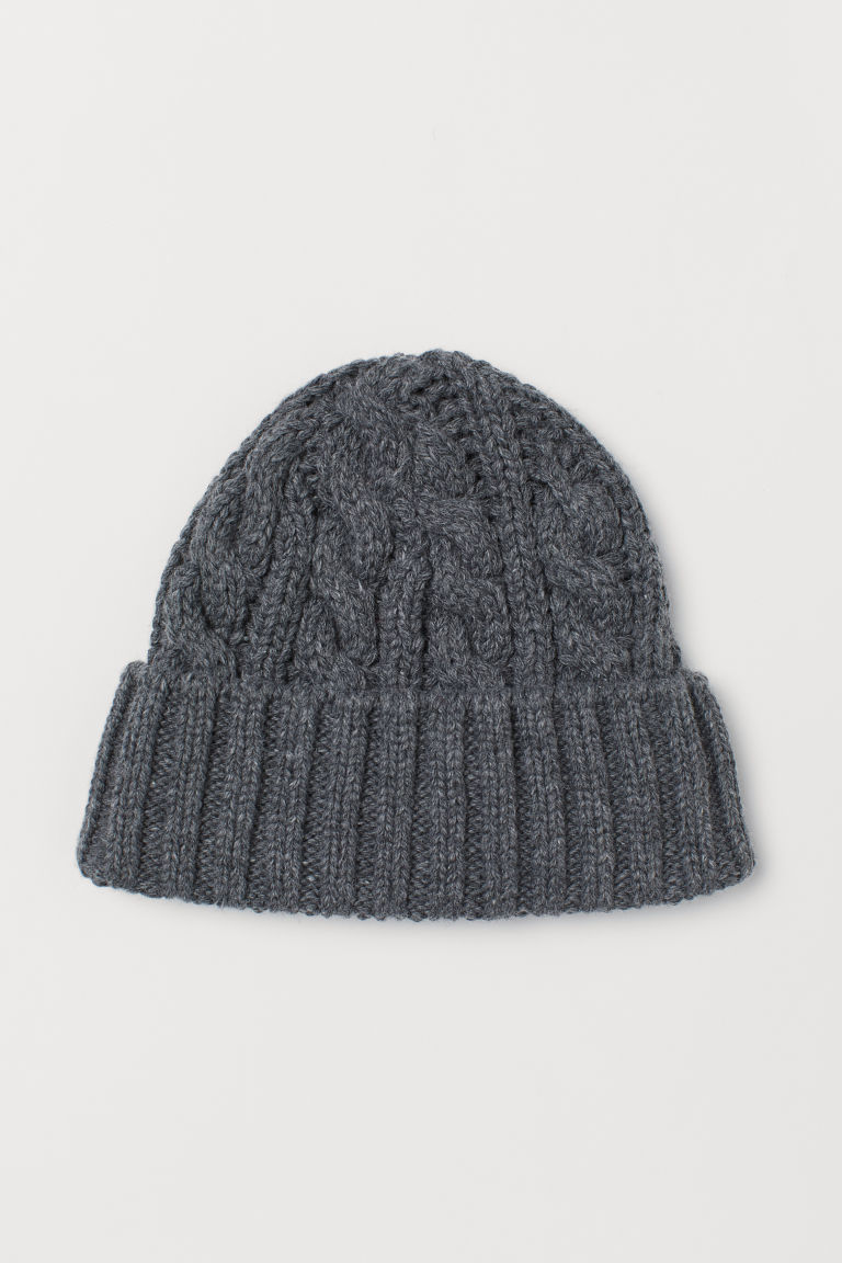 Cable-knit hat - Dark grey - Men | H&M CN