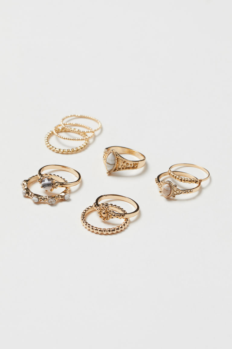 10-pack rings - Gold-coloured - Ladies | H&M IE