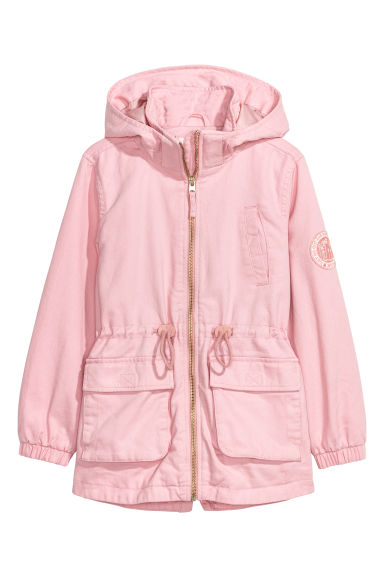 Cotton twill parka - Light pink - Kids | H&M CN