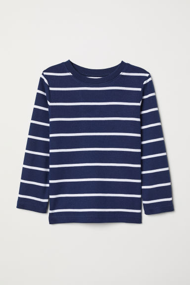 Long-sleeved jersey top - Dark blue/White striped - Kids | H&M