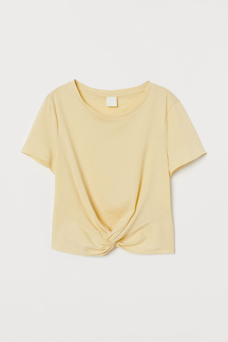 Shirt mit Knotendetail - Blassgelb - Ladies | H&M AT