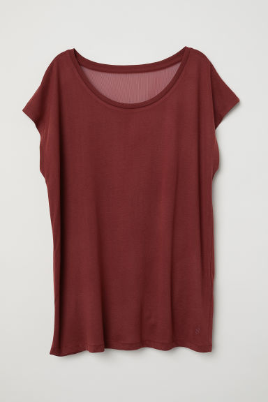 Wide yoga top - Rust red -  | H&M