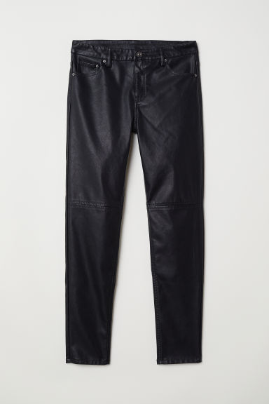 Imitation leather trousers - Black -  | H&M GB