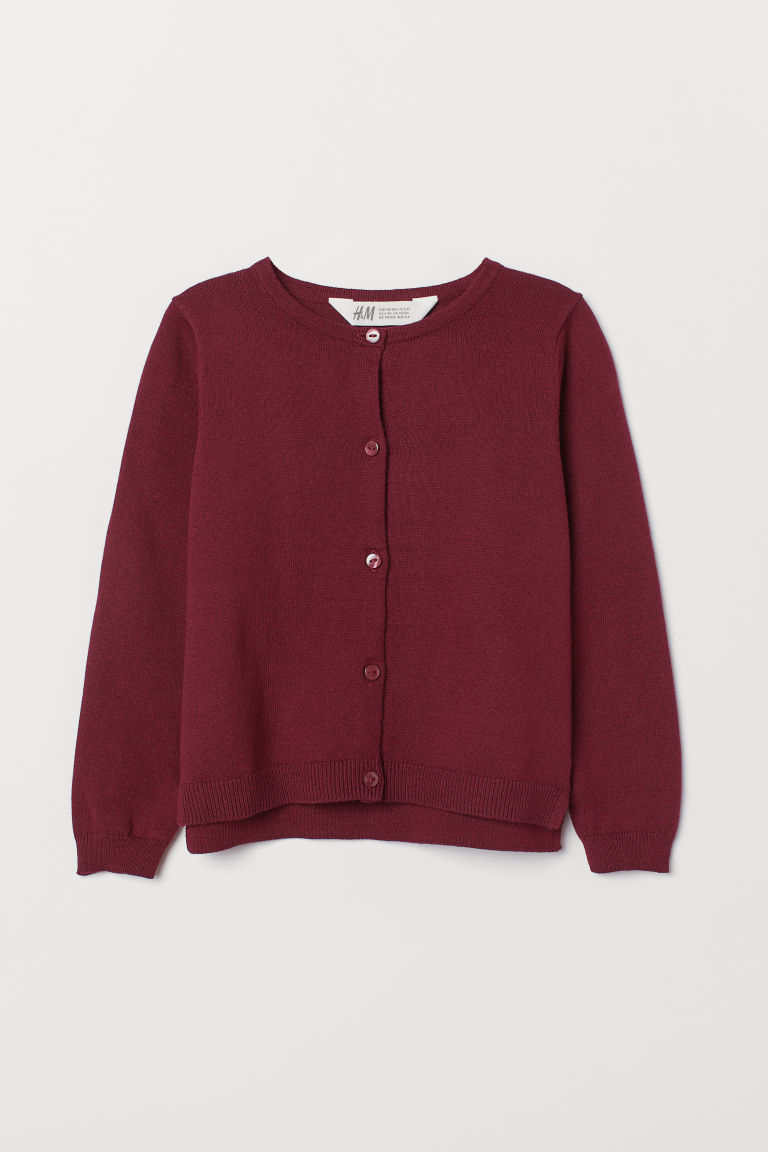 Fine-knit cardigan - Dark red - Kids | H&M IE