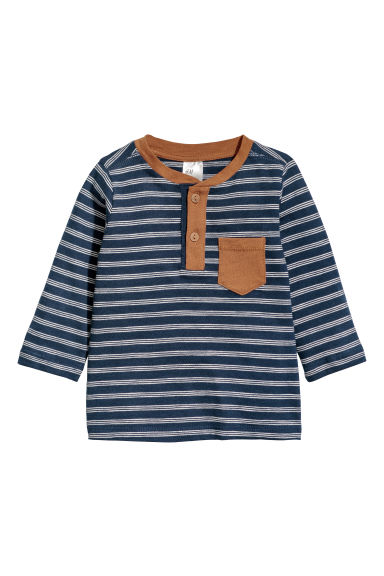 Long-sleeved jersey top - Dark blue/White striped - Kids | H&M CN