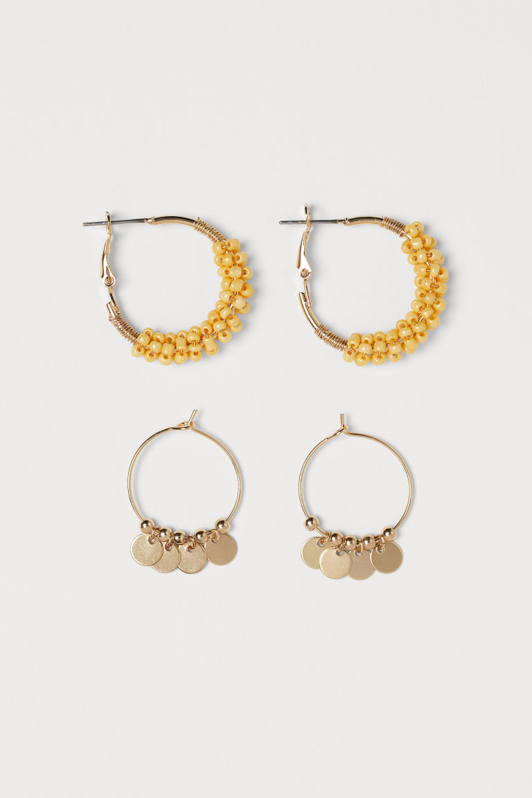 2 Pairs Earrings - Gold-colored/yellow - Ladies | H&M US
