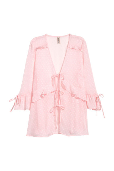 V-neck tie blouse - Light pink -  | H&M IE