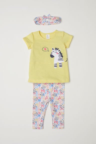 3-piece jersey set - Light yellow/Patterned - Kids | H&M