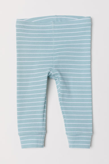 Ribbed jersey leggings - Light turquoise/Striped -  | H&M