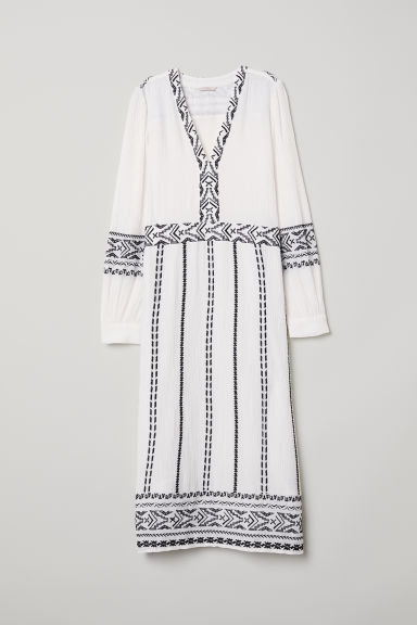 Embroidered dress - White - Ladies | H&M