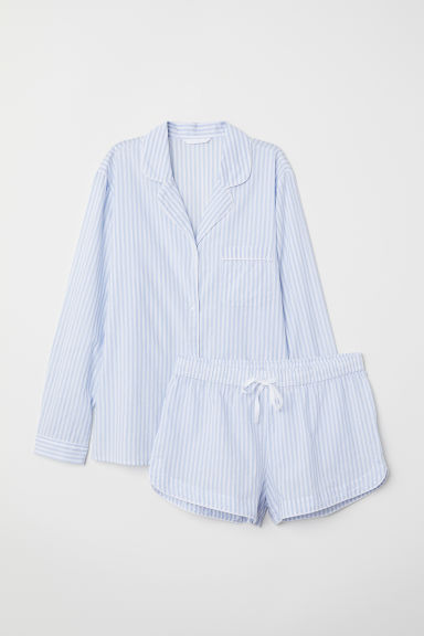 Pyjama shirt and shorts - White/Light blue striped - Ladies | H&M