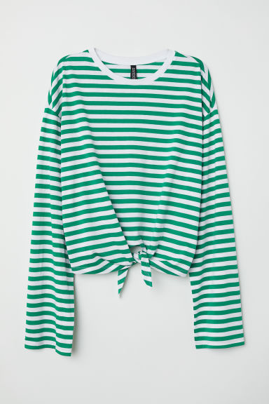 Tie-hem top - Green/White striped - Ladies | H&M CN