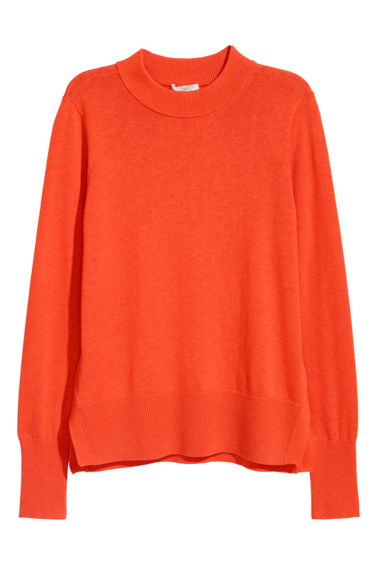 Fine-knit jumper - Orange - Ladies | H&M CN