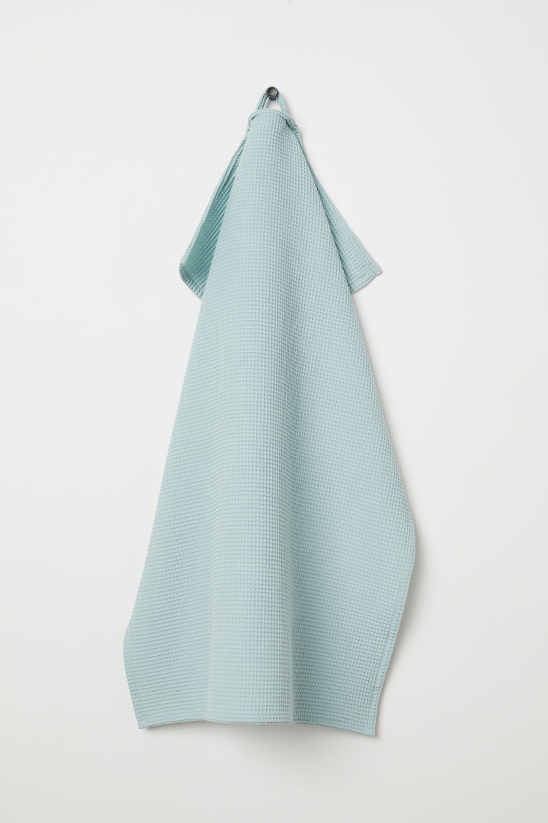 Waffled tea towel - Light turquoise - Home All | H&M CN