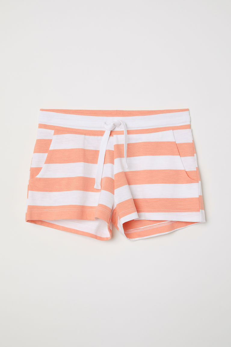 Short jersey shorts - White/Apricot striped - Kids | H&M