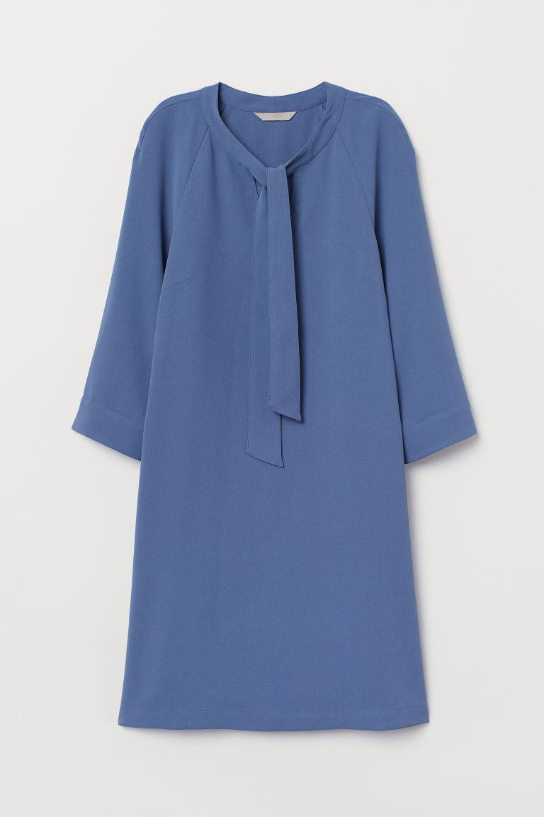 Dress with ties - Dusky blue - Ladies | H&M CN