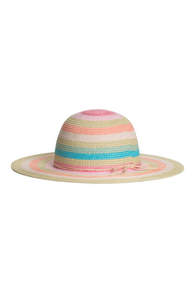 Glittery straw hat - Natural/Multicoloured stripes -  | H&M CN