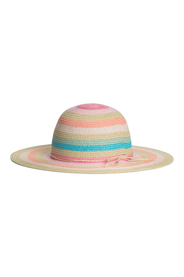 Glittery straw hat - Natural/Multicoloured stripes - Kids | H&M
