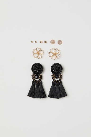 5 pairs earrings - Gold-coloured/Black - Ladies | H&M CN