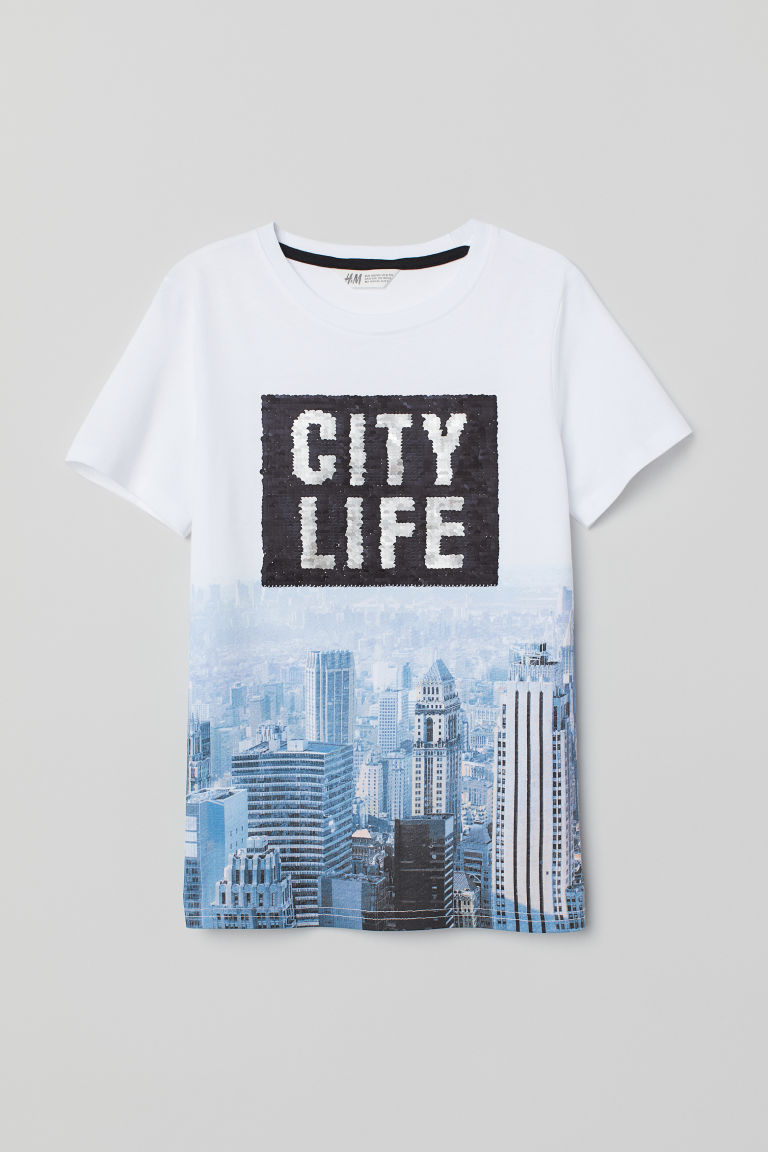 Printed T-shirt - White/Reversible sequins - Kids | H&M IE