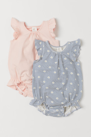2-pack bodysuits with frills