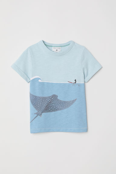 Printed T-shirt - Light turquoise -  | H&M CN