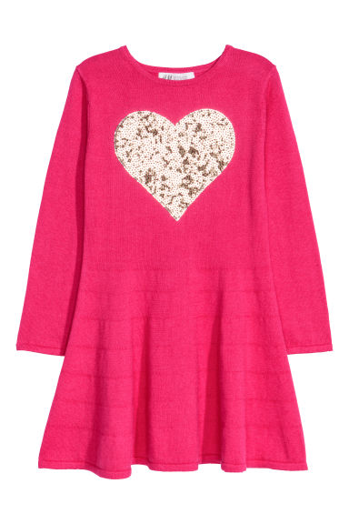 Sequin-embroidered dress - Cerise/Heart - Kids | H&M CN