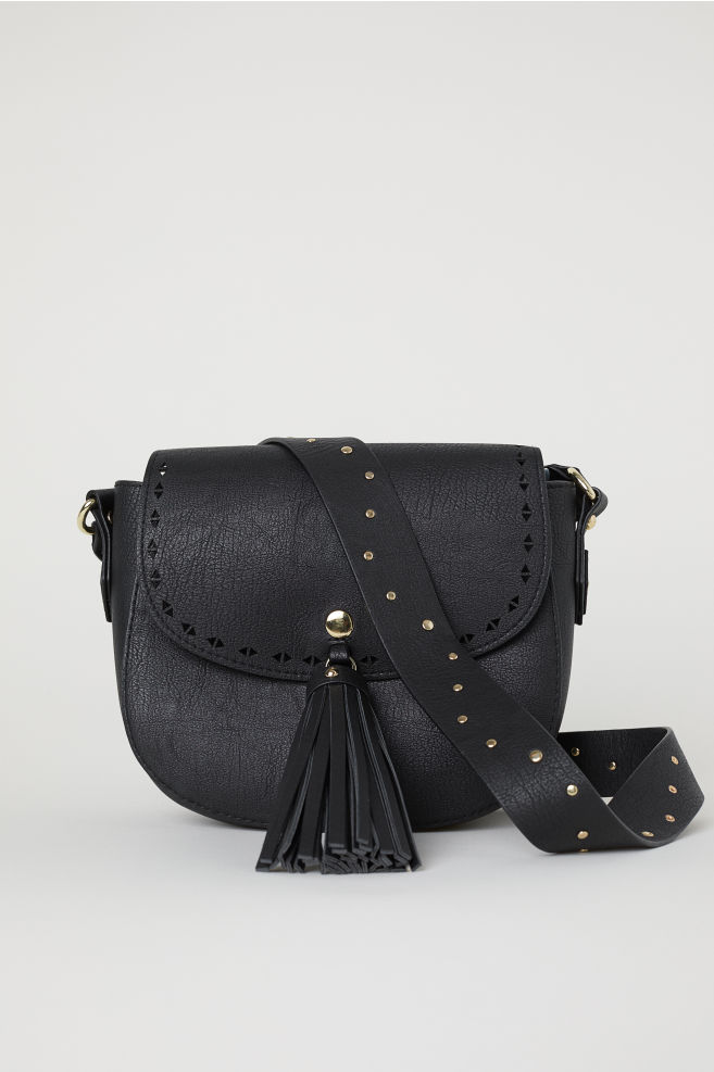 2cd03763c7 Small Shoulder Bag with Tassel - Black faux leather -