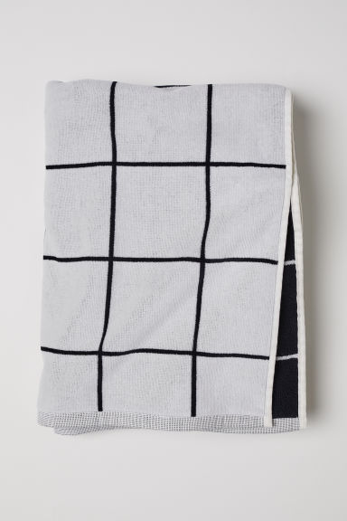 Jacquard-weave bath towel - White/Checked - Home All | H&M CN