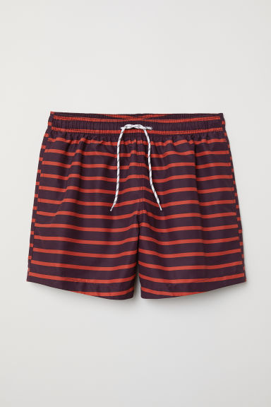 Swim shorts - Burgundy/Orange striped - Men | H&M