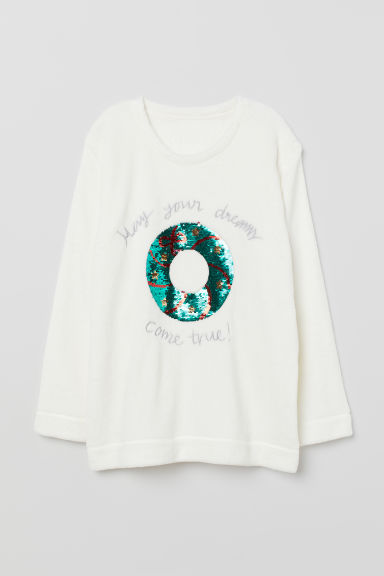 Fleece Pajama Top - White - Ladies | H&M CA