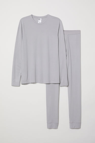 Thermal base layer set - Grey marl - Men | H&M