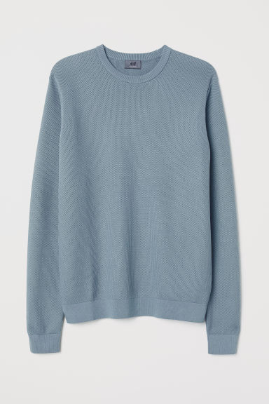 Knitted pima cotton jumper - Steel blue - Men | H&M