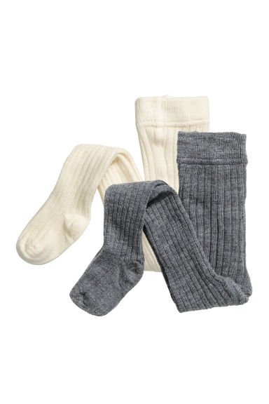 2-pack wool-blend tights - Natural white -  | H&M GB
